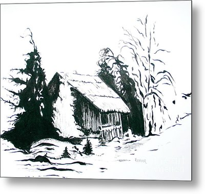Black And White Barn In Snow Metal Print by Joyce Gebauer