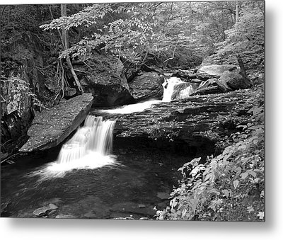 Black And White Cascade Metal Print by Frozen in Time Fine Art Photography