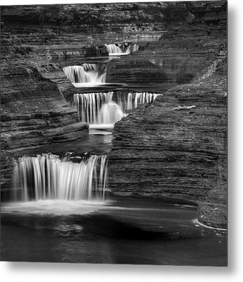 Black And White Cascade Square Metal Print by Bill Wakeley