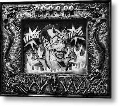 Black And White Hellivision Metal Print by Gregory Dyer