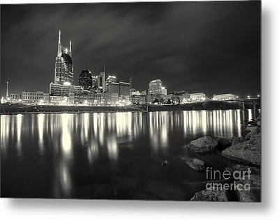 Black And White Image Of Nashville Tn Skyline  Metal Print by Jeremy Holmes