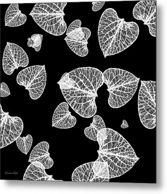 Black And White Leaf Abstract Metal Print by Christina Rollo