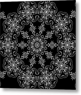 Black And White Medallion 11 Metal Print by Angelina Vick