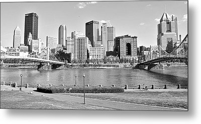 Black And White Over The Allegheny Metal Print by Frozen in Time Fine Art Photography