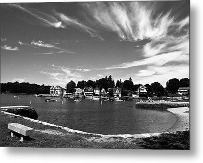 Black And White Photo Park Bench Stony Creek Harbor Connecticut Metal Print by Robert Ford