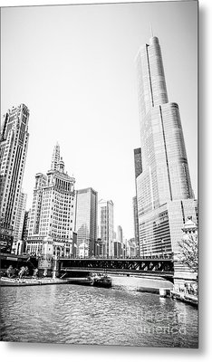 Black And White Picture Of Chicago River Architecture Metal Print by Paul Velgos