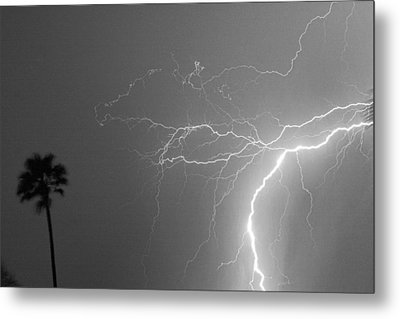 Black And White Tropical Thunderstorm Night  Metal Print by James BO  Insogna
