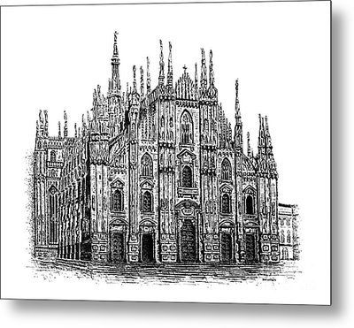 Black And White With Pen And Ink Drawing Of Milan Cathedral  Metal Print by Mario Perez