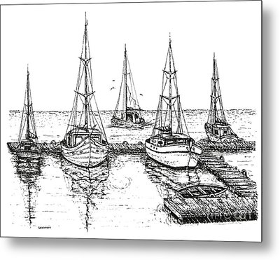 Black And White With Pen And Ink Drawing Of The Berth Metal Print by Mario Perez