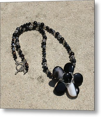 Black Banded Onyx Wire Wrapped Flower Pendant Necklace 3634 Metal Print by Teresa Mucha