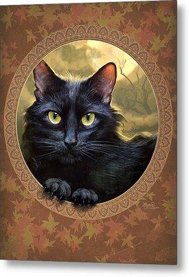 Black Cat Autumn Metal Print by Jeff Haynie