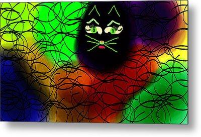 Black Cat Dreams Metal Print by Rosana Ortiz