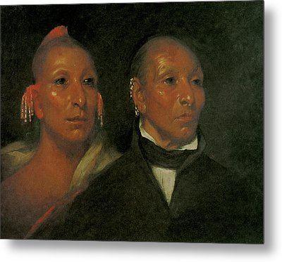 Black Hawk And His Son Whirling Thunder Metal Print by John Wesley Jarvis