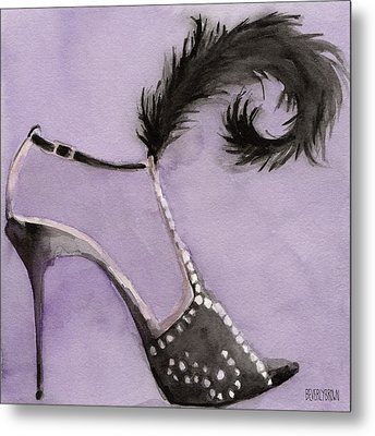 Black High Heel Shoe With Feather Shoes Paintings Metal Print by Beverly Brown Prints