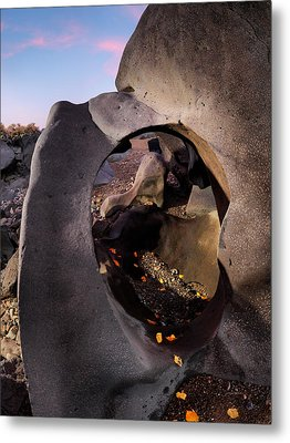 Black Magic Canyon Round Metal Print by Leland D Howard