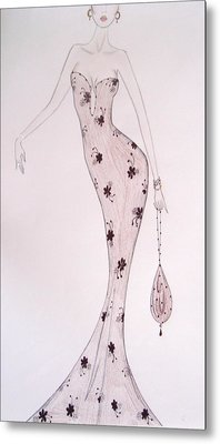 Black Orchid Gown Metal Print by Christine Corretti