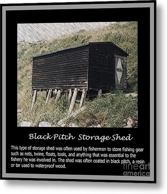 Black Pitch Storage Shed Metal Print by Barbara Griffin