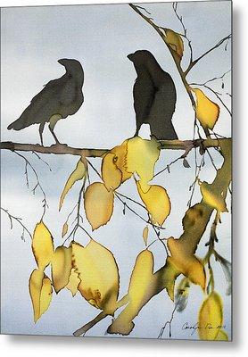Black Ravens In Birch Metal Print by Carolyn Doe