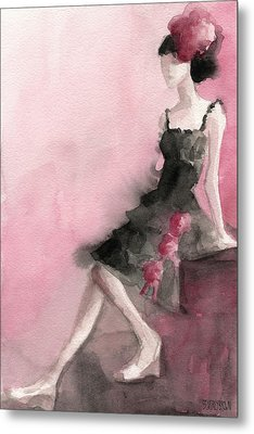 Black Ruffled Dress With Roses Fashion Illustration Art Print Metal Print by Beverly Brown
