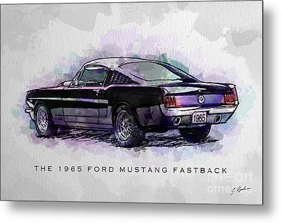 Black Stallion 1965 Ford Mustang Fastback Metal Print by Gary Bodnar