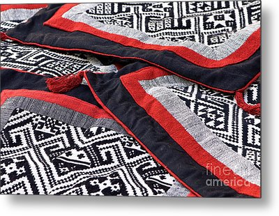 Black Thai Fabric 04 Metal Print by Rick Piper Photography