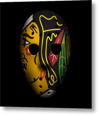 Blackhawks Goalie Mask Metal Print by Joe Hamilton