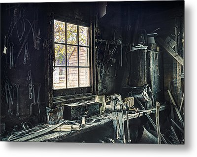 Blacksmiths Workbench - One October Afternoon Metal Print by Gary Heller