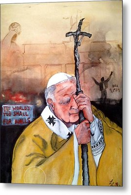 Blessed Pope John Paul II And Collapse Of Berlin Wall Metal Print by Laura LaHaye