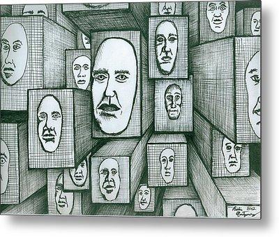 Block Head Metal Print by Richie Montgomery