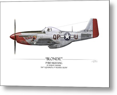 Blondie P-51d Mustang - White Background Metal Print by Craig Tinder