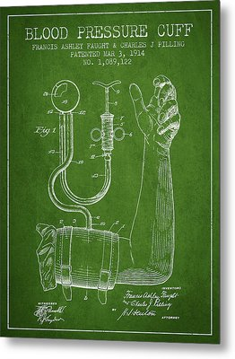 Blood Pressure Cuff Patent From 1914 -green Metal Print by Aged Pixel