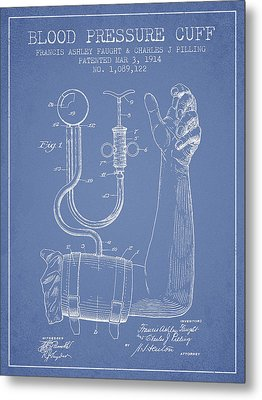 Blood Pressure Cuff Patent From 1914 -light Blue Metal Print by Aged Pixel