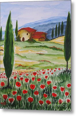 Blooming Poppy In Tuscany Metal Print by Christine Huwer