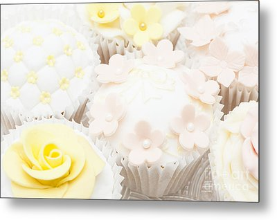 Blossoms And Bows Cupcake Metal Print by Anne Gilbert