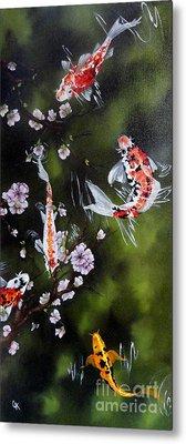 Blossoms And Koi Metal Print by Carol Avants