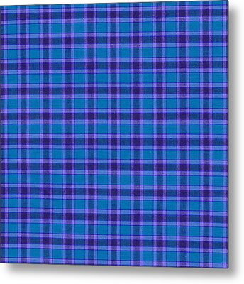 Blue And Purple Plaid Pattern Textile Background Metal Print by Keith Webber Jr