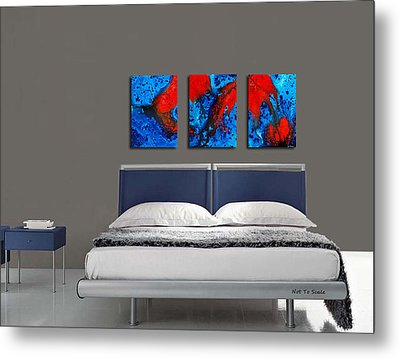 Blue And Red Abstract Hung As A Triptych Metal Print by Sharon Cummings