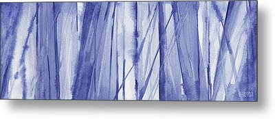 Blue And White Abstract Panoramic Painting Metal Print by Beverly Brown