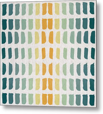 Blue And Yellow Pattern Metal Print by Aged Pixel