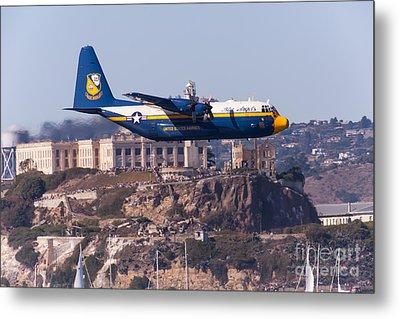 Blue Angels Fat Albert C130t Hercules Through San Francisco Alcatraz Island At Fleet Week 5d29571 Metal Print by Wingsdomain Art and Photography