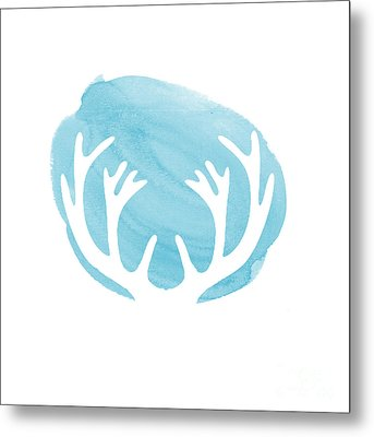 Blue Antlers Metal Print by Marion De Lauzun