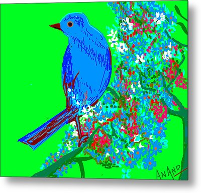 Blue Bird And Flowers Metal Print by Anand Swaroop Manchiraju