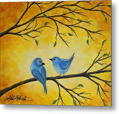 Blue Birds Metal Print by Molly Roberts