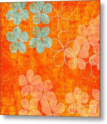 Blue Blossom On Orange Metal Print by Linda Woods