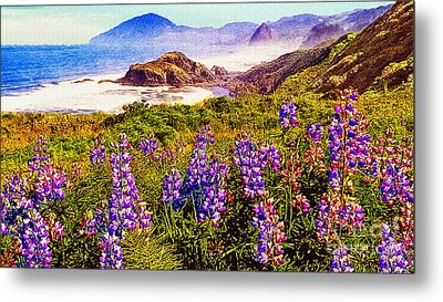 Blue Bonnets On Oregon Coastline Metal Print by Bob and Nadine Johnston