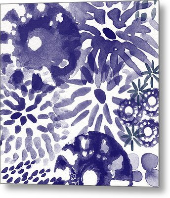 Blue Bouquet- Contemporary Abstract Floral Art Metal Print by Linda Woods