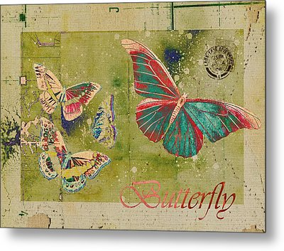 Blue Butterfly Etc - S55ct01 Metal Print by Variance Collections