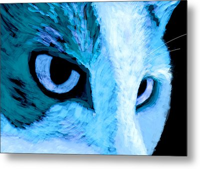 Blue Cat Face Metal Print by Ann Powell