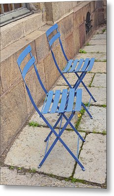 Blue Chairs 2 Stockholm Sweden Metal Print by Marianne Campolongo