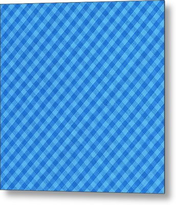 Blue Checkered Diagonal Tablecloth Cloth Background Metal Print by Keith Webber Jr
